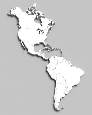 3d white map of south and north american countries on grey