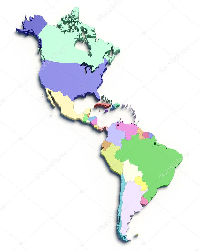 3d Color Map Of South And North American Countries Stock Photo