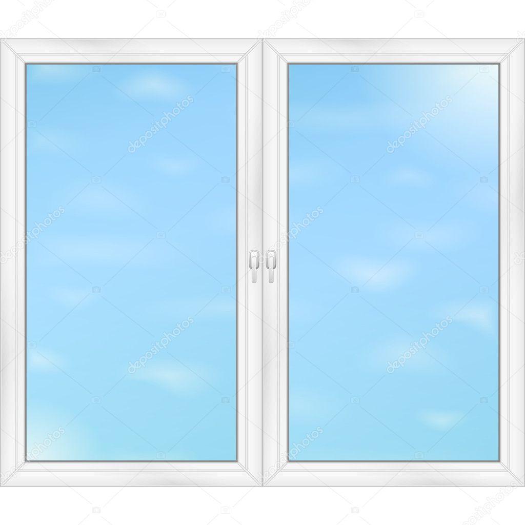 Blue sky behind the windows