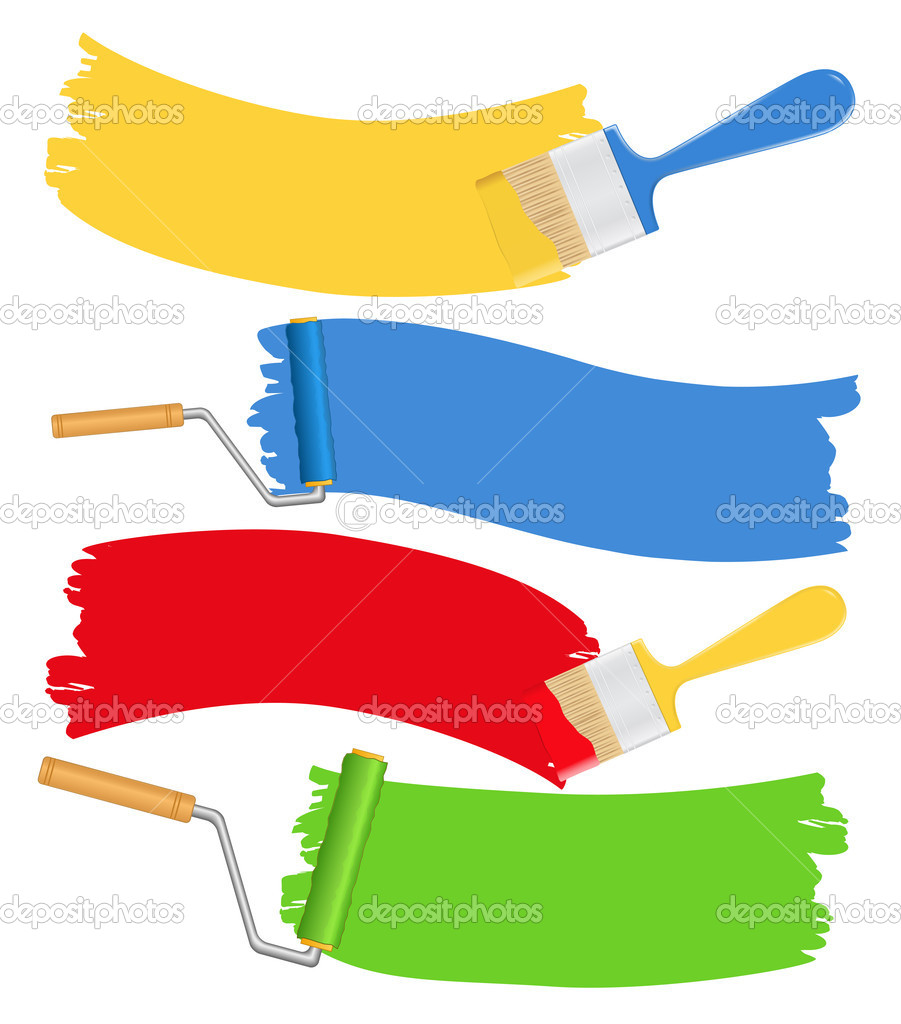 Paintbrushes and rollers