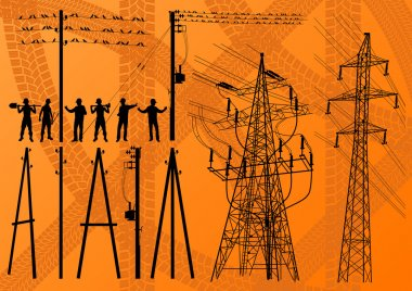 Electricity poles and structures construction engineers vector
