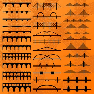 Bridge construction silhouettes background vector