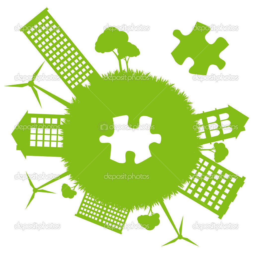Green planet missing piece of green jigsaw puzzle