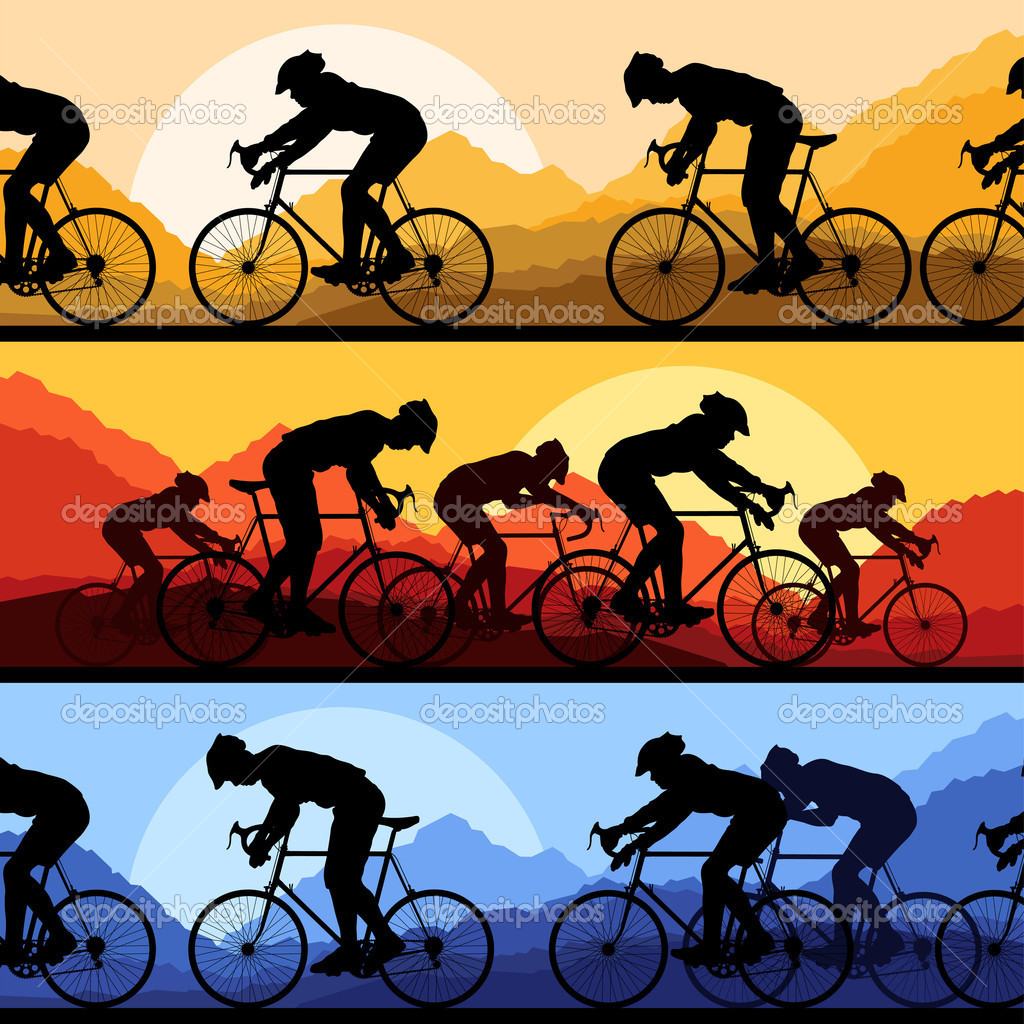 Sport road bike riders and bicycles detailed silhouettes