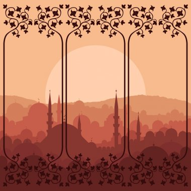 Vintage Arabic city landscape background illustration