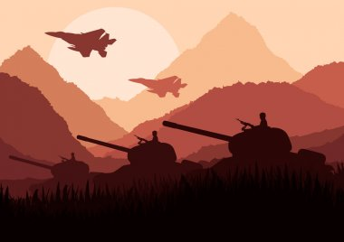Army tanks and airplanes in mountain landscape background illustration