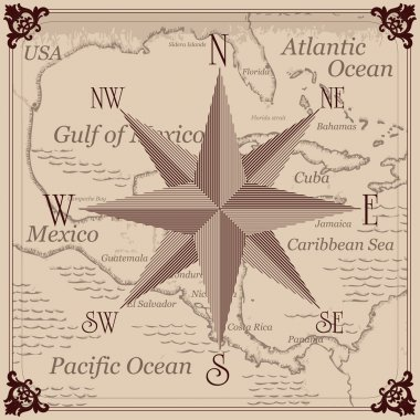 Vintage compass and Caribbean central america map background illustration
