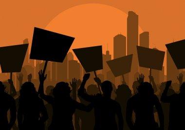 Protesters crowd in skyscraper city landscape background illustration