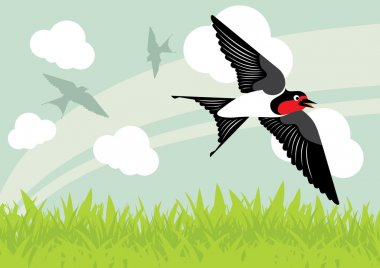 Flying swallow birds in country side landscape background illustration