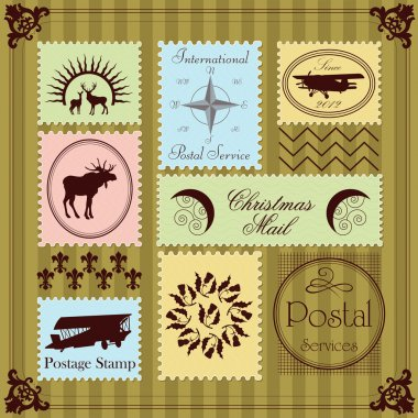 Vintage postage stamps illustration collection background