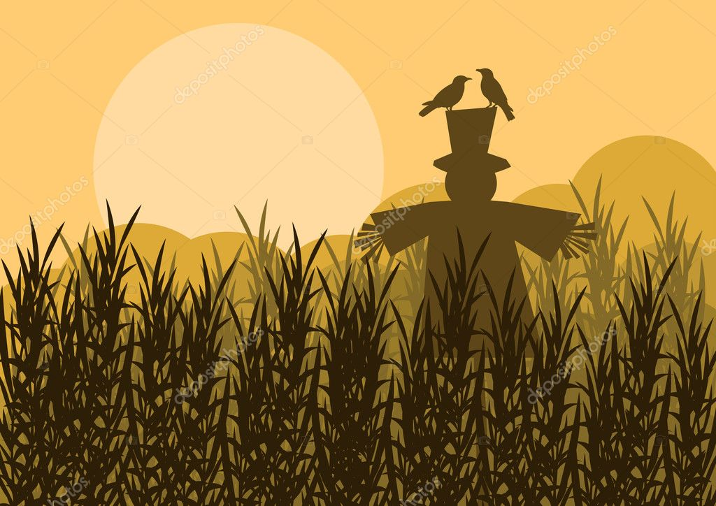 Scarecrow in corn field autumn countryside landscape background illustratio