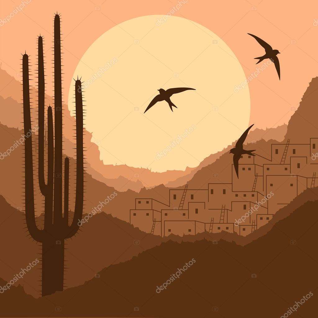 Wild desert canyon nature landscape background illustration