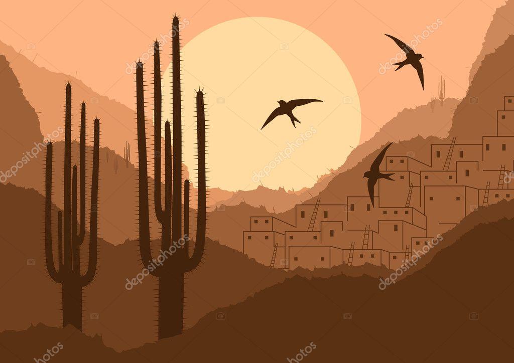 Wild desert canyon nature landscape background illustration