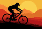 Photo Mountain bike rider in landscape background illustration vector