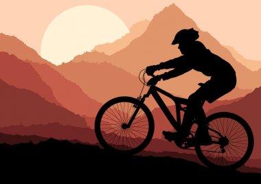 Mountain bike rider in landscape background illustration vector