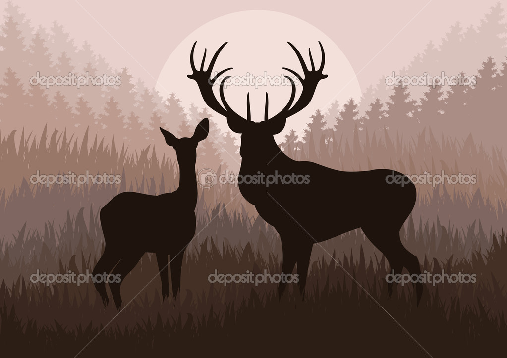 Rain deer family in wild forest landscape background illustration vector