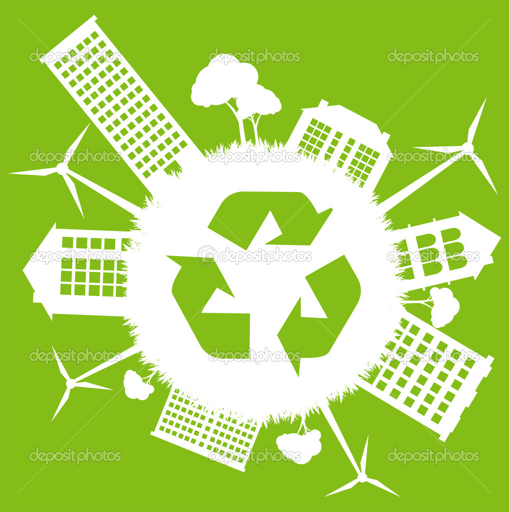 Green ecology energy planet vector concept with recycling arrows for poster