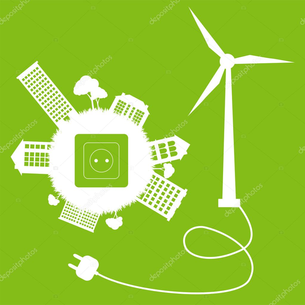 Green ecology energy planet vector concept with socket and wind generator