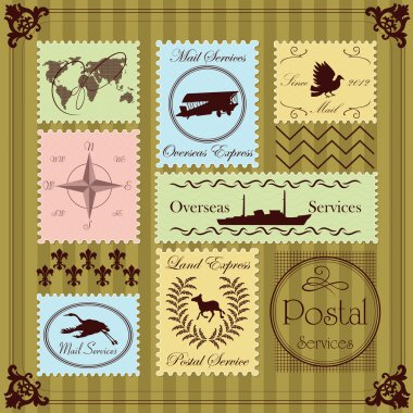 Vintage postage stamps illustration collection background vector