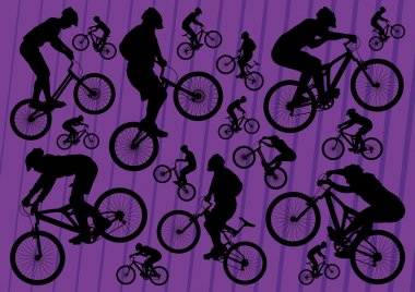 Mountain bike and trial riders bicycle silhouettes illustration collection