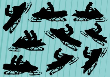 Snowmobile motorbike riders silhouettes illustration collection background