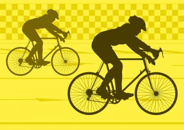 Sport road bike riders bicycle silhouettes in urban city road