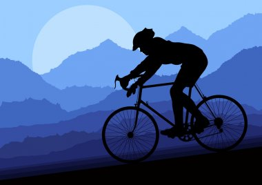 Sport road bike bicycle rider in wild nature landscape