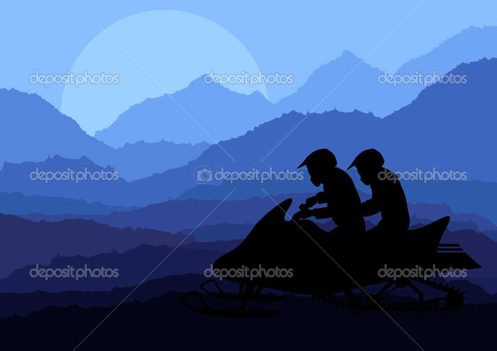 Snowmobile riders in wild nature landscape background illustration vector