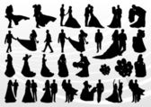 Fotografie Bride and groom in wedding silhouettes illustration collection background v