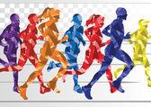 Fotografia Maratona corridori sfondo colorato illustrazione vettoriale