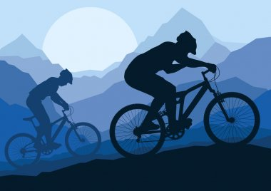 Mountain bike bicycle riders in wild nature landscape background illustrati
