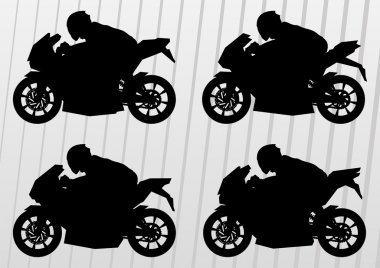 Sport motorbike riders and motorcycles silhouettes illustration collection