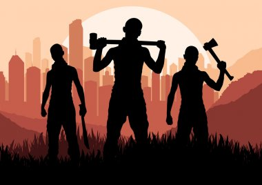 Bandits and criminals silhouettes in skyscraper city landscape background i