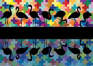 Colorful mosaic and flamingo birds silhouettes reflection illustration back