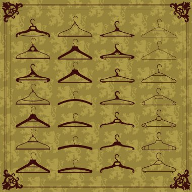 Vintage clothes hangers silhouettes illustration collection background vect