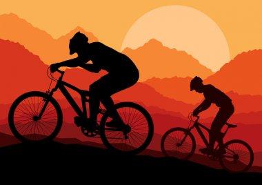Mountain bike bicycle riders in wild nature landscape background illustrati