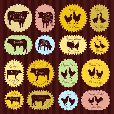 Farm animals market egg and meat labels food illustration collection backgr