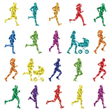 Marathon runners silhouettes illustration collection background vect