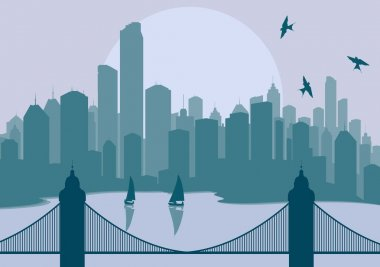 Panorama city with bridge in front of it vector background