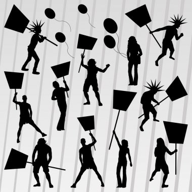 Protesters crowd silhouettes collection background illustration vector