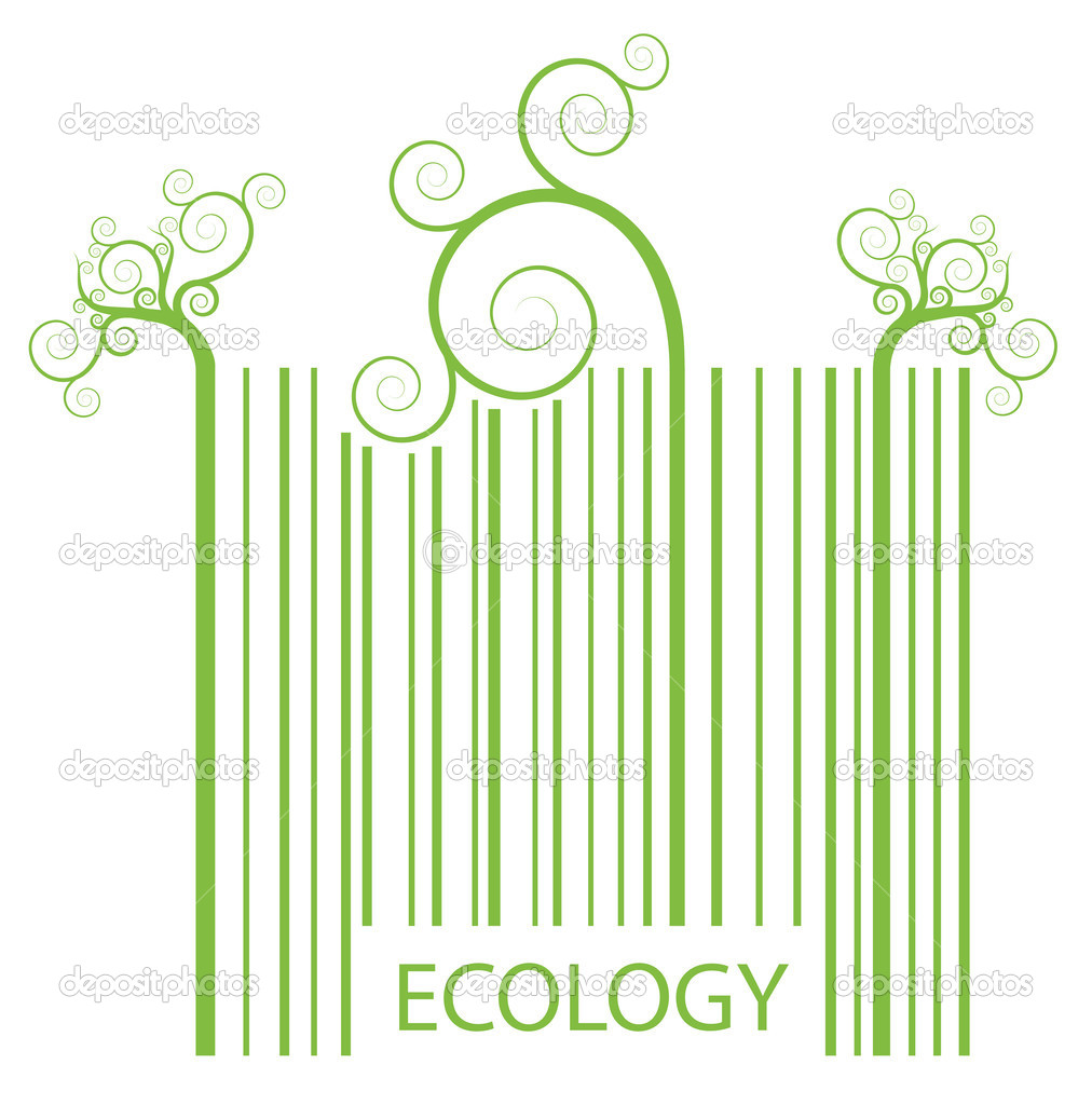 Organic ecology barcode made of green plant sprouts