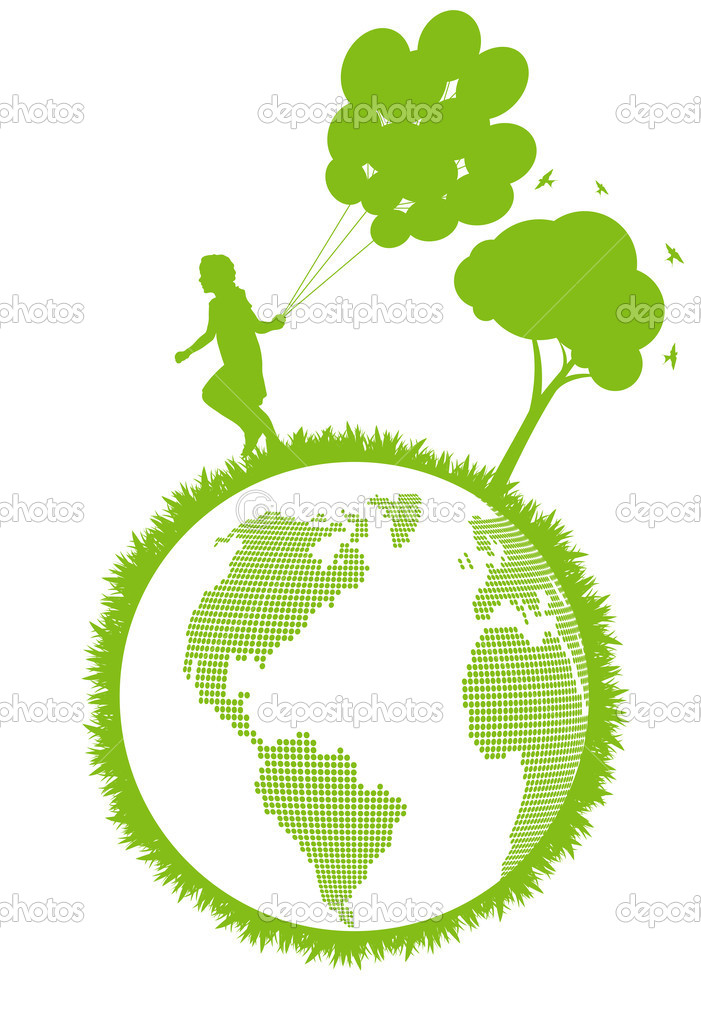 Green ecology plant with happy kid and tree eco concept