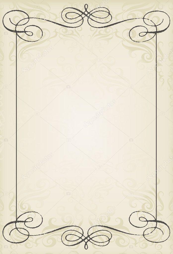 Vintage wedding frame vector background card