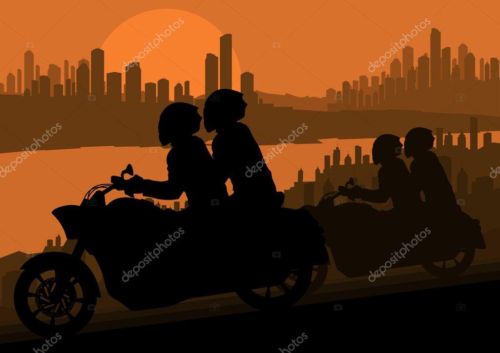 Motorbike rider motorcycle silhouette in skyscraper city