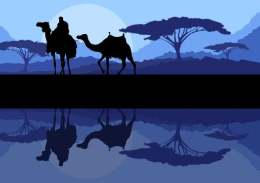 Camel caravan in wild mountain nature landscape background illustration vector