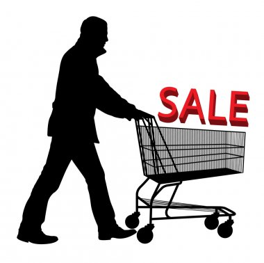 Big save in a shopping cart. Concept of discount vector background