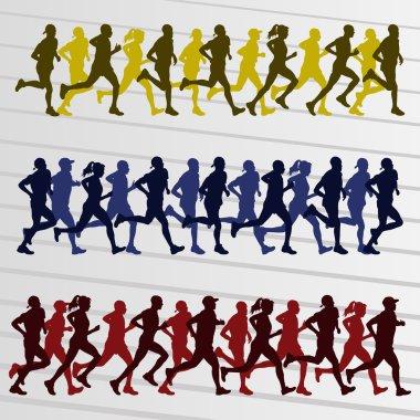 Family marathon runners landscape background illustration vector