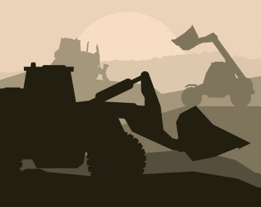 Construction machinery and bulding place vector background