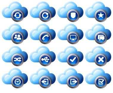 Virtual cloud icons Set 2 Blue