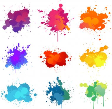 Colorful paint splats collection set stock vector